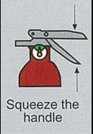 Image showing how to squeeze the handle of a fire extingquisher