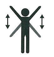 figure of a person raising and lowering arms to indicate distress